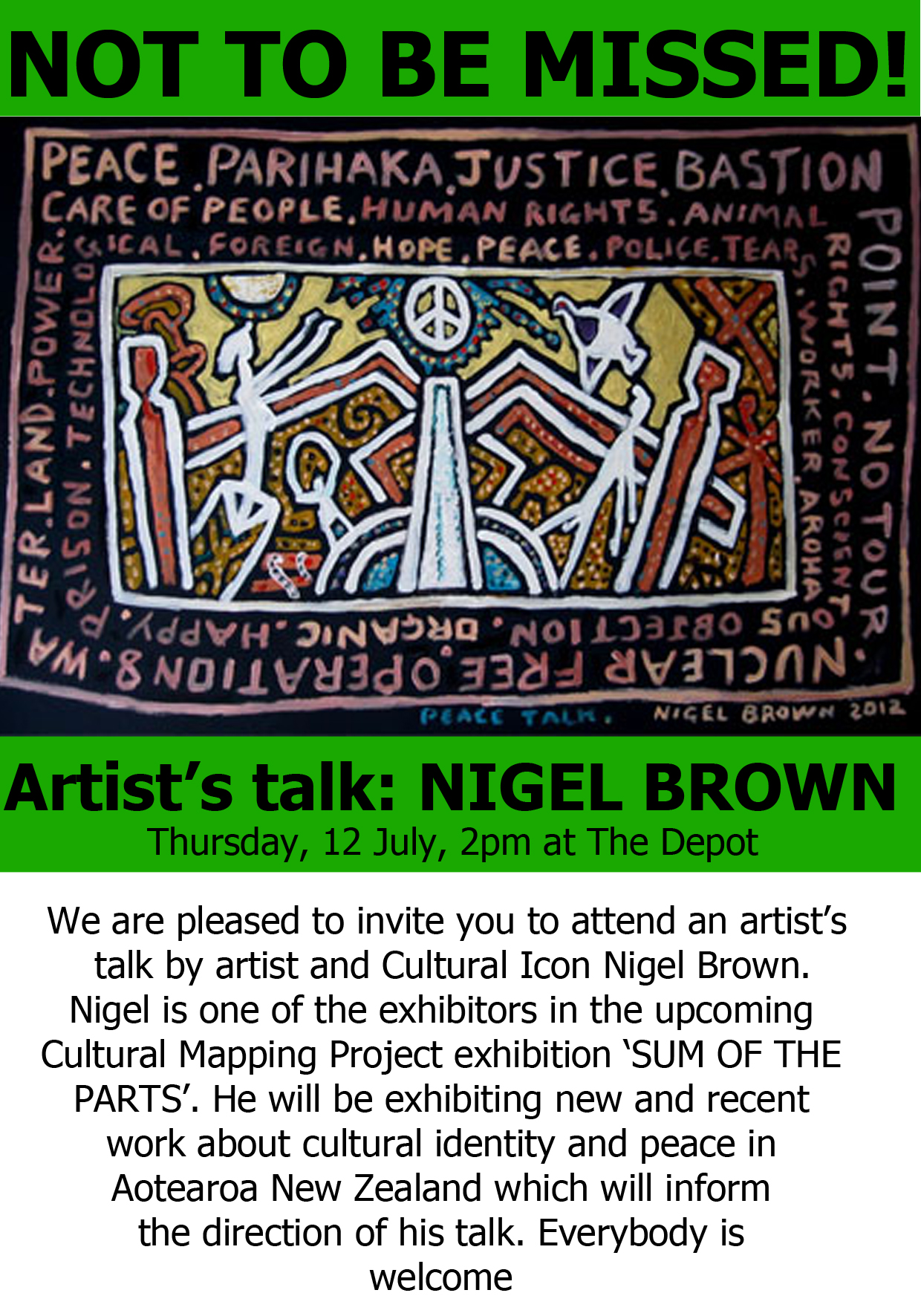 Nigel brown artist's talk Thursday July 12th 2pm at The Depot
